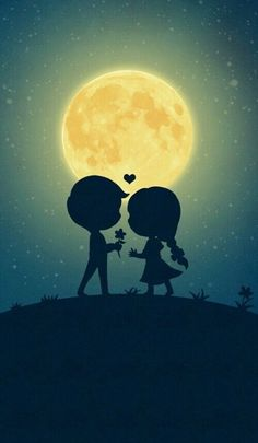 Imagen de love, moon, and couple
