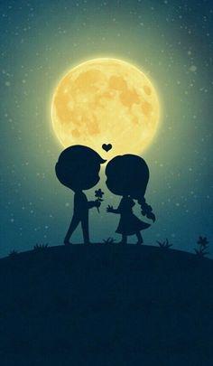 Imagen de love, moon, and couple