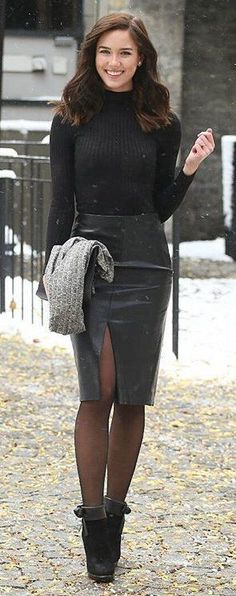 #winter #fashion /  Black Turtleneck / Black Leather Skirt / Black Booties / Black Tights