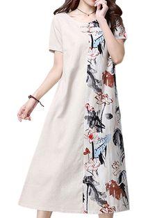 Vintage Floral Linen Dress