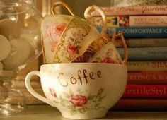 Coffee cups and books