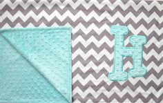 Personalized Initial Minky Dot Chevron Blanket