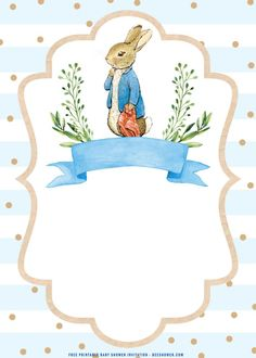 Free Baby Shower Printables, Printable Baby Shower Invitations, Templates Printable Free, Beatrix Potter, Peter Rabbit Wallpaper, Peter Rabbit Party, Rabbit Illustration, Baby Frame, Rabbit Pictures