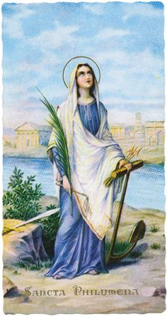 Saint Philomena Martyred by sinking to the bottom of the sea and shot through with arrows.