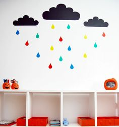 DIY Clouds wall for kids room! It's a great way to decorate the wall in the kids room using homemade vinyl sticker paper.