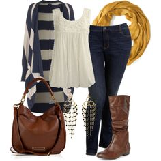 Dark washed skinny jeans, brown boots, brown bag, mustard scarf, white tank top, white & navy striped cardigan.