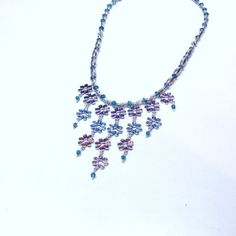 Handmade Beaded Necklace with Flower Chain Dangles by terririchard, $21.50