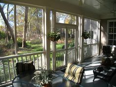 screen porch with double doors