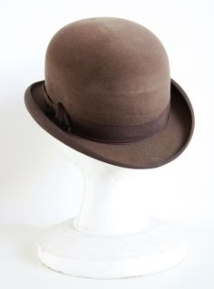 Original bowler hat for men, made during Austo-Hungarian period (produced till 1918). #vintageclothing #vintage #antique #bowlerhatyou can buy on http://www.salonmody.cz/en/home/20-bowler-hat-for-men.html