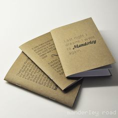 """set of 3 journals featuring quotes from """"Rebecca"""" by Daphne du Maurier"""