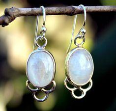 White Opal Sterling silver Dangle earring- Gemstone earring- White Earring- Oval earring