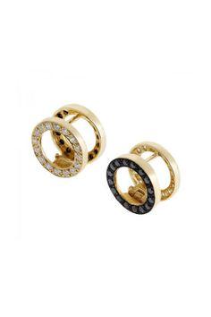 Ileana Makri 18k Yellow Gold Earring with White and Black Diamonds, €4,515; ileanamakri.com