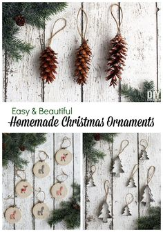 Easy and Beautiful Homemade Christmas Ornaments. Not only are these Christmas ornaments easy to make, they are also inexpensive to make. Create memories with your family, make homemade ornaments! #christmas #ornaments #rusticchristmas #rusticdecor