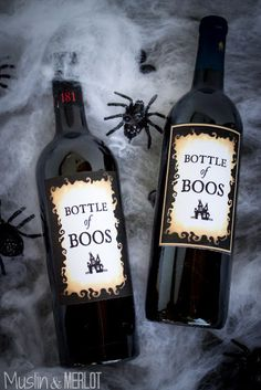 Bottle of Boos - Free Printable. Just print, cut and use glue dots to cover the original label!