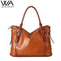 89.64$  Buy here - http://alio7e.worldwells.pw/go.php?t=32725153218 - Walk Arrive Genuine Leather Women Handbag Shoulder Bag Brand Design Leather Tote Bag Fashion Purse 89.64$