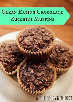 Clean Eating Chocolate Zucchini Oatmeal Muffins   #CleanEating