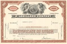 Great tobacco collectible in this stock certificate from P. Lorillard Company Classic tobacco plant vignette at the top. Smoking Causes Cancer, Common Stock, Financial Success, Jersey City, Trading Company, Vignettes, 1950s, Things To Sell, Money Frame