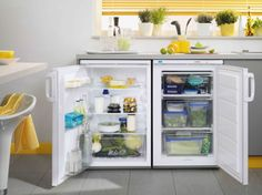 An Integrated Under Counter Fridge And Freezer Set