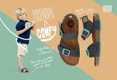 Comodidad absoluta para los niños en unas sandalias básicas  con un toque de color. Gioseppo Kids.