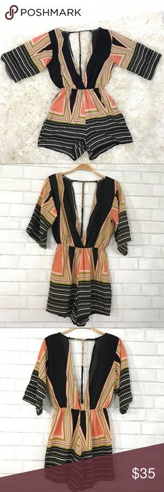 Boho Print Romper size M Boho Summer chic Romper  Size M, runs small, New no tags, Printed Polyester Cotton, elastic Waist, Low V neck front. Low V back with T strap, 3/4 sleeves. No brand.   Ⓜ️Waist full stretch 30 Ⓜ️Rise 12 Ⓜ️Sleeves 13 Ⓜ️Length 29  ✅Bundle and save  ✅🚭 🚫No Trading 🙅🏻 Poshmark rules only‼️ Boutique Pants Jumpsuits & Rompers