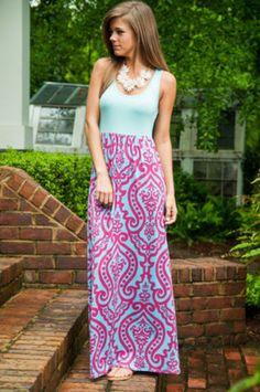 Scroll Bridge Maxi Dress, Blue-Fuchsia