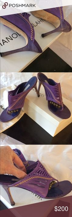 Manolo purple/ violet/blue/ leather sandal heels BLAHNIK BEAUTIES-M-SERENGETING A/BULGARO 646 INFRA -90. Original label on box with mesh mustard thread and embellishments dangling that makes a beautiful and comfortable shoe. Compliments off the charts. 8 in size American fit 7.5 perfect. Heels are slender . Also blue Vibram sole protector for Shoe Cobbler always a great idea on a high end shoe. Lots wear left still hot Natural Wear $ I got in NY... I love these /want re-loved . Plain