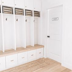 white mudroom lockers, crates, brass gold hooks and hardware, laundry sign Laundry Room Inspiration, Home Decor Inspiration, Mudroom Cabinets, Blogger Home, Garage Entry, Metal Homes, Entryway Decor, Entryway Ideas, House Design