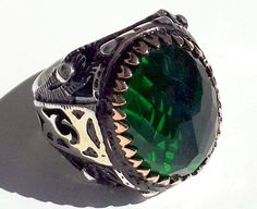 925 STERLING SILVER MEN'S RING WITH TOTALLY HANDMADE UNIQUE REAL EMERALD #Handmade