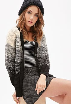 Marled-Stripe V-Neck Cardigan | Forever21 - 2000099929 33.90