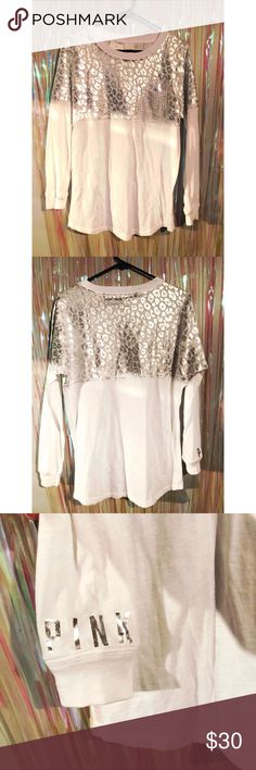 White Long Sleeve Animal Print Bling Pocket Shirt VS Pink long sleeve shirt with animal print pattern on top & bling pocket. Lightweight shirt. 60% Cotto , 40% Polyester. PINK Victoria's Secret Tops Tees - Long Sleeve