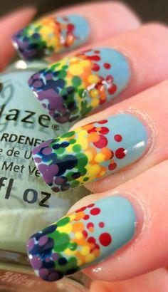 Rainbow Dots Nail Art, looks like blown glass
