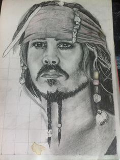 A work in progress. drawing of Jonny Depp as Jack Sparrow using the grid method