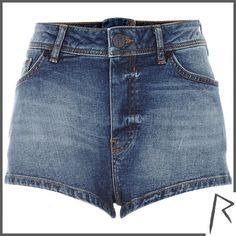 River Island Mid wash Rihanna zip back denim shorts ($45) ❤ liked on Polyvore