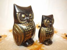 Vintage Brass Pair of Hoot Owl Figurines by OutrageousVintagious, $20.00