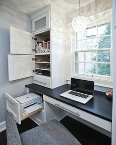 Hidden areas for printer, charging station, mail, etc... I don't like clutter when it comes to my office spaces... More