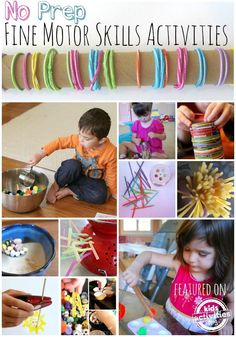 No prep fine motor skills activities.  This page has some great ideas for setting up fine motor activities using objects we all have either around the classroom or house.  Read more at:  http://kidsactivitiesblog.com/52280/fine-motor-skills-activities