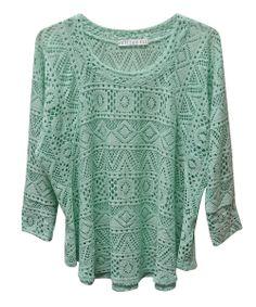 #Mint Crocheted Scoop Neck Top