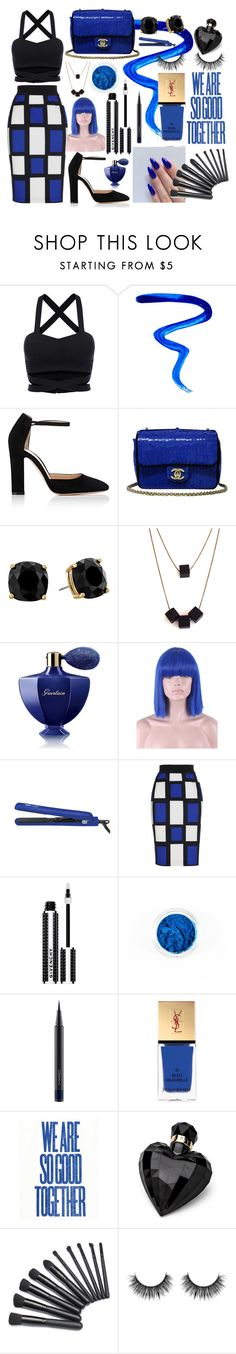 """""""Blue Check"""" by chalotteleah on Polyvore featuring Givenchy, Gianvito Rossi, Chanel, Kate Spade, Guerlain, MAC Cosmetics, Yves Saint Laurent and Lipsy"""