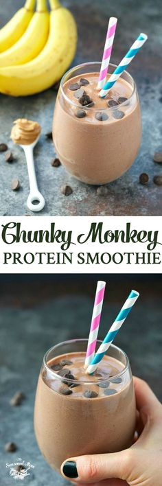 A wholesome, high protein breakfast is less than 5 minutes away with this Chunky Monkey Protein Smoothie! Dairy-free, gluten-free, vegan, and loaded with chocolate, peanut butter, and banana goodness! #WellnessYourWay #ad @krogerco @LoveMySilk