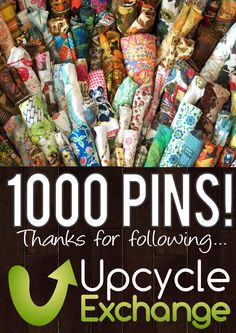 The Upcycle Exchange is celebrating 1000 pins of awesome craft projects! From transforming disposables into decor to small sewing projects, and other ideas for supplies that you need not buy new. Be sure to visit our pay-as-you-wish materials shop next time you are in St. Louis, MO ;)  http://upxchange.com