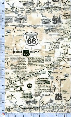 Route 66 Vintage-Look Map with Attractions - Transportation, Travel and Maps, Elkabee's Fabric Paradise.com, LLC