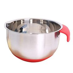 Stainless Steel Egg Bowl,Mixing Bowl with Handle for Baking Mixer Non-Slip Silicone Base Kitchenware Salad Bow Egg Beating Pan Tools Cooking (S) ... (This is an affiliate link) #mixingbowls