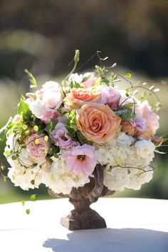 Easter centerpiece in brown urn