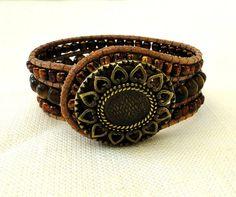 wrap leather cuff bracelet chan luu boho surfer zen earthly bead work chic style with sunflower button tiger eye gemstone glass beads by ShySu, $47.00