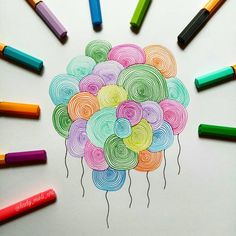 I would call this colorful balloons 😀, swipe ⬅ for the tutorial. Dibujos Zentangle Art, Zentangle Drawings, Mandala Drawing, Doodle Drawings, Doodle Art, Art Zen, Zantangle Art, Doodle Patterns, Zentangle Patterns