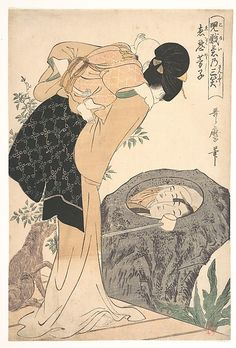 Mother and Child  Kitagawa Utamaro  (Japanese, 1753–1806)  Period: Edo period (1615–1868) Date: ca. 1800 Culture: Japan Medium: Polychrome woodblock print; ink and color on paper