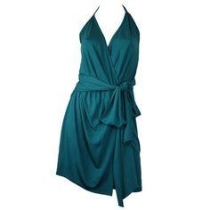 turquoise wrap halter dress