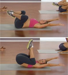 "Open Knee Tucks. getting rid of your ""pooch"".... add this to your workout before cardio...start simple 3 sets of 20 with 5 second rest between sets"