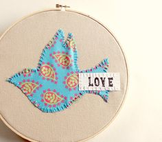 Embroidered Hoop Art  Blue Paisley Dove Love by Wellofcreations, $9.00