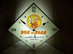 """Dog n Suds Root Beer Clock (Vintage 1960 Soda Pop Advertising Lighted Clock, """"World's Creamiest Root Beer"""")"""